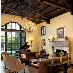 Living room in spanish Decoration New Spanish Appraises Spanish Revival Decor Revival Colonial Living Room Spanish Revival Living Room Colors, Living Room Paint, Home Living Room, Yellow Walls Living Room, Pale Yellow Walls, Yellow Sofa, Brown Walls, Mediterranean Living Rooms, Spanish Style Homes