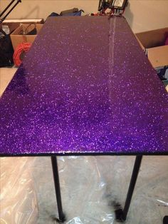 Upcycled an old table for my craft room. Used modge podge to attach the glitter, let that dry for 24 hours and applied two layers of epoxy resin. Love how it turned out! #GlitterBedroom