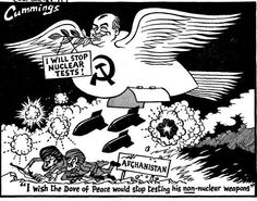 """""""I wish the Dove of peace would stop testing his non-nuclear weapons."""" Michael Cummings Daily Express 22 Aug 1986"""