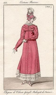 The Journal des Dames et des Modes  Pink redingote de casimir 1813 costume parisien