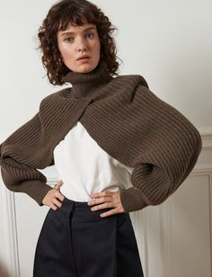 Chic wool ribbed turtleneck layering cape with back tie. Brand Pixie Market wool, polyester Ribbed sleeve cuff Model is wearing size s/m and model's height is Knitwear Fashion, Knit Fashion, Fashion Outfits, Womens Fashion, Fashion Trends, Fashion Fashion, Runway Fashion, Mode Inspiration, Looks Style