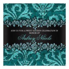 Teal Faux Glitter & Velvet Floral Sweet Sixteen Invite