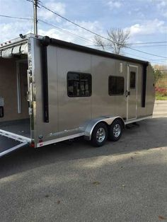 "2016 New Aluminum Trailer Company ATC 7 X 20 Toy Hauler in Wisconsin WI.Recreational Vehicle, rv, 2016 ATC 7 X 20 World Class, Precision built, All Aluminum Constrtuction Check out the new ATC toy hauler,screwless exterior, Queen size electric bed, fold up sofa sleeper, 3 way 6 cubic ft. double door refrigerator, power tongue jack, 24"" four corner scissor stabilizing jacks, diamond plate stone guard,front storage tongue tray, power awning, microwave, 2 burner cooktop, roof A/C, LED interior…"