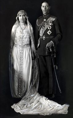 King George VI and Queen Elizabeth (later the Queen Mother) on their wedding day in 1923.