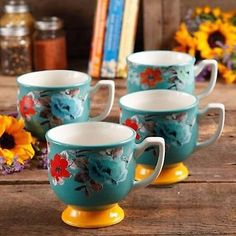The Pioneer Woman Flea Market 15 oz Footed Decorated Mugs, Turquoise & Yellow...