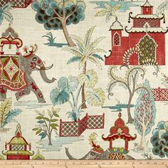 Asian Toile Pillow Cover Elephant Eggshell Blue Red Black