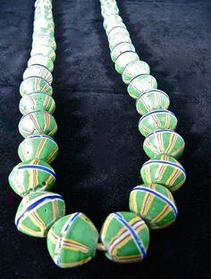 "Antique African Trade Bead Venetian Glass Strand 40"""