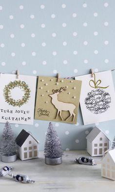 Itse tehty joulukortti – 12 mallia | Meillä kotona Christmas Cards, Xmas, Advent Calendar, Gallery Wall, Kids Rugs, Diy Crafts, Holiday Decor, Home Decor, Paper