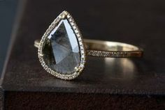 Natural Pave diamond slice ring-18kt yellow++Alexis Russell