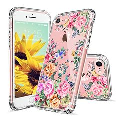 iPhone 7 Case, iPhone 7 Case for Girls, MOSNOVO Roses Garden Floral Printed Flower Pattern Clear Design Plastic Back Hard Case with Soft TPU Bumper Protective Case Cover for Apple iPhone 7 (4.7 Inch)