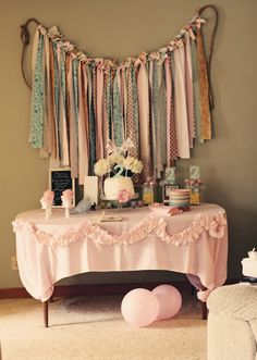 A pretty amazing set-up for a 2 yr. old birthday!  This would be pretty anytime!  Capturing the details of our life: shabby chic birthday