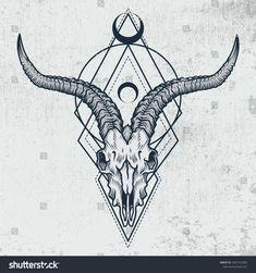 Goat skull in ink graphic technique. Vector illustration of goat skull with sacr. - Goat skull in ink graphic technique. Vector illustration of goat skull with sacred geometry shapes - Skull Candy Tattoo, Floral Skull Tattoos, Pirate Skull Tattoos, Animal Skull Tattoos, Bird Skull Tattoo, Indian Skull Tattoos, Sugar Skull Tattoos, Skull Tattoo Design, Tattoo Designs