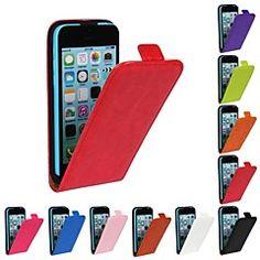 flip-openstellen paard graan pu leer full body case voor de iPhone 5c (verschillende kleuren) – EUR € 11.52