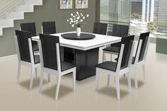 mesa de jantar 8 cadeiras e tampo giratorio