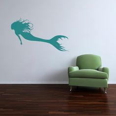 Mermaid Swimming Left Vinyl Decal by WilsonGraphics on Etsy, $50.00  Great for a seaside or Lake cottage or home.