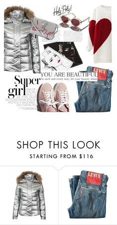 """""""Super Girl Puffer Jacket"""" by clotheshawg ❤ liked on Polyvore featuring Levi's, Dolce&Gabbana and Garance Doré"""