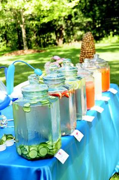A Beverage Bar will be a huge hit at any party. You can do an array of Iced Teas…Infused Waters…Lemonade…Limeade…Sangria….Punch and more!
