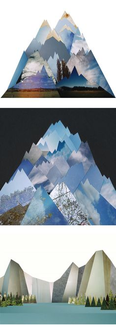 Melbourne based artist Liesl Pfeffer snips photographs {which I believe are her own} into precise geometric shapes to create these gorgeous mountains.