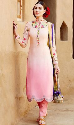 USD 58.24 Light Pink Cotton Satin Churidar Salwar Kameez 44361