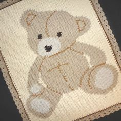 Crochet Patterns - BABY BEAR Graph Afghan Pattern *EASY