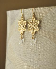 Stargazer Lily Earrings/ Gold Earrings/ Lace Earrings/ Flower Earrings/Wedding Jewelry/ Bridesmaids Earrings/ Gift for Her/ Dainty Earrings by YsmDesigns on Etsy