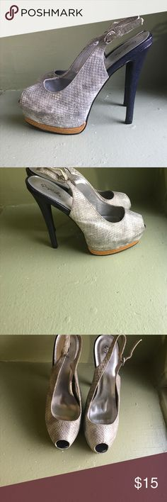 Gray & Blue Platform Heels I ACCEPT MOST OFFERS:)                                                   Perfect condition; platform makes it a little easier to walk in; height: not sure exactly(4-5 inches) Shoes Heels