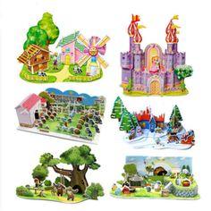 Envío libre modelo del envío 3D rompecabezas rompecabezas chino arquitectura arquitectura de los niños DIY juguete entrega al azar