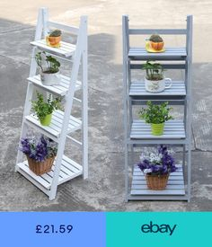 4 Tier Ladder Shelf Display Unit Free Standing/Folding Book Stand/Shelves UK New