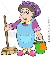 Illustration about Cartoon cleaning lady - illustration. Illustration of apron, bucket, person - 12186296