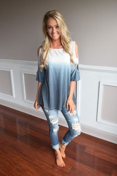 Two Tone Ombre Top ~ Blue – The Pulse Boutique