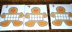 Gingerbread Men Ten Frames cards--free printable