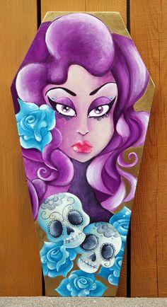 Day of the Dead Sugar Skull Coffin Girl by KreepshowArt on Etsy