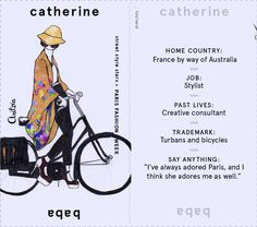 Catherine Baba #pfw #streetstyle #bike illustration