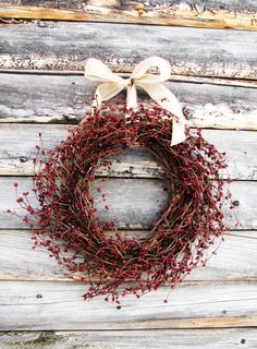 CRANBERRY RED-Scented Spiced Cran-Apple-Autumn Door Decor-Rustic Christmas Wreath