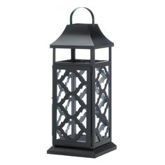 Black Damask Candle Lantern - This black iron candle lantern is just what you need to amplify the style in your living space. The iron frame feature a beautiful geometric damask design and a hanging loop at top. Its ready to glow when you place the candle of your choice inside.