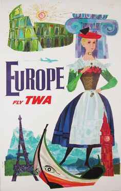 Europe Fly TWA  Item #: TRV-2497  Category: Travel  Artist: David Klein  Circa: 1960's  Origin: USA  Dim: 25 1/4 x 39 3/4 in.