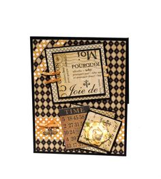 black and orange french card