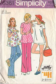 Vintage 1970's Size 12 Maternity Pants Shorts and Top Simplicity Sewing Pattern 6361 Bust 34 Hip 36