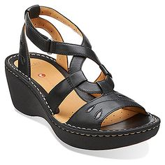 Stern Black Leather - Wide Shoes for Women - Clarks® Shoes - Clarks Wide Width Shoes, Wide Shoes, Clarks Sandals, Women's Sandals, Sandals For Sale, Desert Boots, Comfortable Sandals, Strap Heels, Me Too Shoes