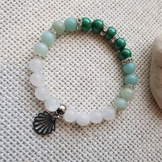 Náramek zelený s rondelkami s mušlí Beaded Jewelry, Beaded Bracelets, Handmade Bracelets, Tassels, Pearls, Crafts, Ideas, Bracelets, Fashion Men