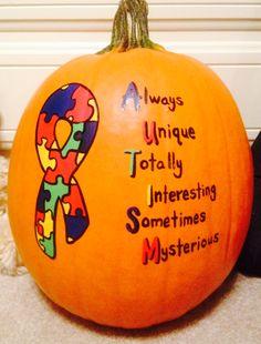 autism painted pumpkin