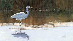 Stepping Easy, Egret by Joe Garcia Oil ~ 6.25 x 11