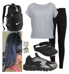 This outfit is school appropriate. Just a pair of black legging that are comfortable. A gray pocket shirt which you can tye a knot in the front. Paired with Nike huaraches and visor. A high pony would look great with this. Great slay
