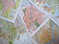 c. 1914 City Maps of Berlin, Tokio, Rio de Janeiro, La Paz and Sevilla from the Diccionario Enciclopedico Hispano-Americano de Literatura, Ciencia, Artes, Etc. All text is in Spanish.