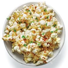 Umami popcorn - If you're worried that this crunchy snack will taste like fish, rest your fears. The anchovy paste simply lends rich umami depth and a go. Trail Mix Recipes, Snack Mix Recipes, Tailgating Recipes, Popcorn Recipes, Appetizer Recipes, Snack Mixes, Savoury Recipes, Party Recipes, Fun Cooking