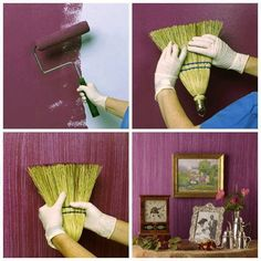 Texturize a paint job with a straw broom