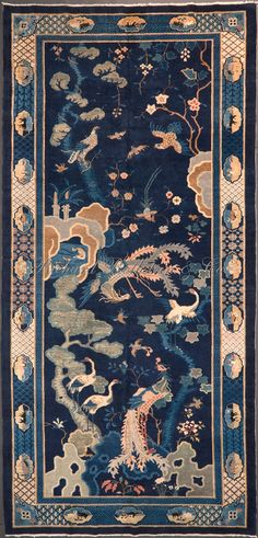 Antiques An Attractive Art Deco Chinese Rug Delicacies Loved By All