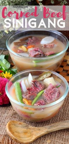 East meets west in this special soup dish that is the combination of two wellloved dishes that are from worlds apart Meet Corned Beef Sinigang Whole30 Soup Recipes, Best Soup Recipes, Fun Easy Recipes, Healthy Soup Recipes, Asian Recipes, Beef Recipes, Delicious Recipes, Cooking Recipes, Canned Corned Beef