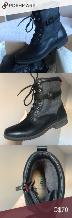 UGG BOOTS Beautiful leather boots, worn only once. Excellent condition and perfect for any colder weather UGG Shoes Ankle Boots & Booties Bootie Boots, Ankle Boots, Ugg Shoes, Leather Boots, Uggs, Black And Grey, Weather, Fashion Tips, Fashion Trends