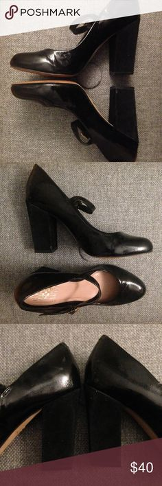 Vince Camuto Black Patent Leather heels, 8 w e l c o m e  t o  m y  c l o s e t   Vince Camuto Mary Jane black heels.              Patent leather upper. Suede block heel for comfort. 3.75in. EUC - slight scuff on patent leather (pic 3).  All reasonable offers welcomed.                    question/unsure? let's talk.                    same day or next day shipping  Thanks for looking, liking, and sharing Vince Camuto Shoes Heels